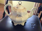 ANTIQUE TEA POT W/ LID WHITE POTTERY W/ GOLD BLUE HAND PAINTED FLOWERS PRETTY
