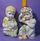VINTAGE BISQUE PORCELAIN PIANO BABY FIGURINE AMS TWINS BOY & GIRL 7.5