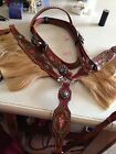 New Painted Tooled Silver Barrel Racing Horse Saddles Bridle BC Set