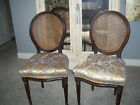 Pair VTG French Louis XVI Cane Back Dining Side Chairs Hollywood Regency