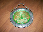 Vintage Green Depression Glass Divided Relish Serving Tray Dish w/ Metal Handle