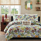 BEAUTIFUL 4 PC SOFT BLUE IVORY WHITE PURPLE TEAL FLORAL GIRL COMFORTER QUILT SET