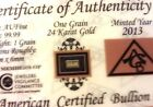 24k Pure Au Gold Bullion 1 Grain Bar in Certificate of Authenticity Invest NOW