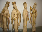 4 Universal Statuary Asian Oriental Wall Plaques Hanging Chalkware Sculptures