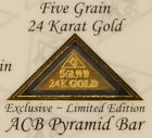 Pyramid 24k Pure 9999 Au Gold Bullion 5Grain Bar in Certificate of Authenticity: