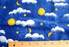 New Fabric Traditions Blue Sky Sun Moon Stars Clouds Print Cotton Fabric