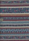 * 100% cotton sewing quilting fabric - blue/red/white floral stripe - 3/4 yards