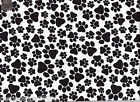 Black Dog Paw Prints on a White Background 100% Cotton Flannel Fabric