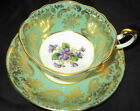 PARAGON FANCY GOLD VIOLET GILT CHINTZ TEA CUP AND SAUCER GREEN