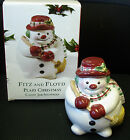 Fitz and Floyd Plaid Christmas Holiday Snowman Ceramic Candy Cookie Snack Jar