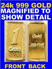 24k INGOT .999 Pure Au Gold Bullion 1Grain Bar Invest NOW $         Gift