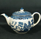 Johnson Brothers Blue WILLOW Ironstone 5 Cup Teapot- Old Crown Mark, England-EUC