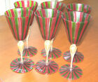 Venetian Murano Crystal Tall Wine/Water Goblet Red/Green Gold Dust Set of 6 NICE