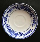 Vintage Porcelain Saucer Plate. White With Blue Trim And Decor.