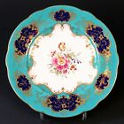 12 Handpainted Artist Signed Coalport for Tiffany Plates:Turquoise and Cobalt