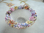 GORGEOUS VINTAGE DELICATE PORCELAIN WIRE BASKET BOWL FLOWERS BAVARIA GERMANY
