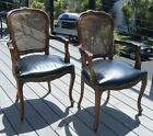 2 Vintage Bergere Louis XVI French Regency Cane Leather Armchairs Dining Chairs