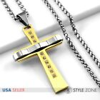 Men Stainless Steel Curve Shape Large Gold Tone Cross Pendant Braid Necklace 1B