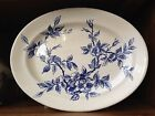 Antique 1800's Staffordshire BLUE & WHITE Floral Ironstone Platter England 13