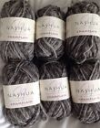 6 Skeins Of Nashua Handknits Champlain 100% Wool Ash Charcoal Huge Lot