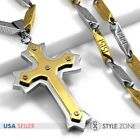 Fashion Men Stainless Steel Gold Tone Angle Cross Pendant Stick Link Necklace 3B