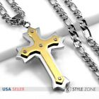 Men Stainless Steel Gold Tone Angle Cross Pendant Figaro Link Chain Necklace 3B