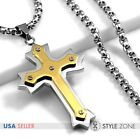 Men Stainless Steel Gold Tone Angle Cross Pendant w Smooth Box Chain Necklace 3B