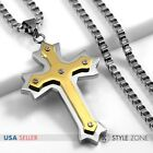 Men Stainless Steel Gold Tone Angle Cross Pendant w Square Box Chain Necklace 3B