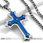 Men Stainless Steel Blue Tone Angle Cross Pendant w Square Box Chain Necklace 3B