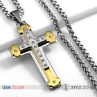 Men Stainless Steel Heavy Gold Tone Large Cross Pendant Braid Chain Necklace 6C