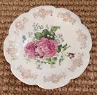 Antique French White Ironstone Ceramic Bowl Floral Pink Shabby Roses  9 1/2