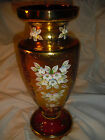bohemia glass VASE 2, hand made painted gold 18k, h: 31cm, diam:12cm