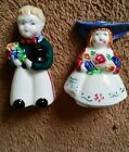 Vintage Ceramic Hand Painted Colonial Boy Girl Salt and Pepper Shakers/Japan