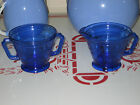 Vintage Depression Glass Moderntone Cobalt Blue Sugar Bowl & Creamer