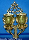 VINTAGE SOLID BRASS DOUBLE WALL VASE HANGING SCONCE INDIA