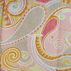 PAISLEY FLORAL SWIRLS 3pc KING QUILT Orange YELLOW Beige PEACH Cynthia Rowley