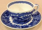 ANTIQUE WEDGEWOOD LANDSCAPE ETRURIA BARLASTON LARGE CUP & SAUCER BLUE & WHITE