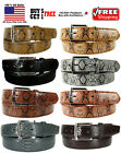 MEN BLACK BROWN FAUX SNAKE SKIN GENUINE LEATHER STITCHED BELT w BELT BUCKLE
