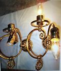 Pair Vintage FRENCH STYLE Mid-Cen Hollywood Brass Wall Sconce Lamp Light Fixture