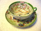 Vintage Hand Painted Japanese Porcelain Cup And Saucer -  Lavishly Decorated