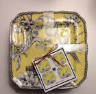 222 Fifth Adelaide Yellow Appetizer Plates Set Of 4 Floral Bird Last 1dessert