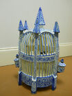 ANTIQUE FAIENCE POTTERY French Bird Cage. BLUE AND WHITE.