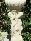 Vintage THREE CHERUB ESTATE URN Stone Planter Garden Statue w/ Weathered Texture
