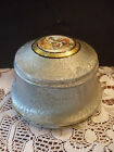 Vintage Silver Metal Powder Tin Music Box Musical Porcelain Painted Picture