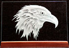 Carved Glass Eagle Head Rectangle in Base