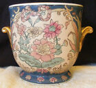 VTG TOYO Trumpet Tapestry Jardiniere Urn Hand Painted Macau Chinese Porcelain
