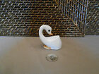 Goose figurine white brown accents design miniature