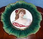 Empire China Portrait Plate Circa 1890s Signed by Artist Bonfif Scalloped Edges