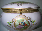 Vtg Rare Large Pale Pink Jewelry Trinket Box Courting Couple Rose Gold Ornament