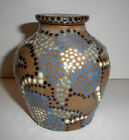 Vintage UNIQUE Hand Made Urn Vase With Lid Moriage Brown Blue Signed Fein 2006